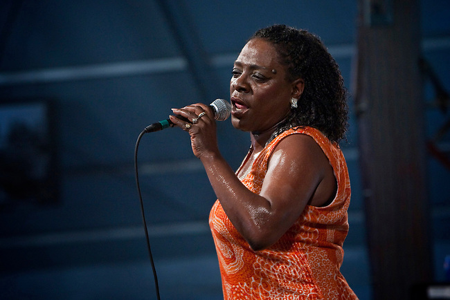 Sharon Jones performs with her band Sharon Jones and the Dap-Kings on the Blues Tent stage at the New Orleans Jazz and Heritage Festival at the New Orleans Fair Grounds Race Course in New Orleans, Louisiana, USA, 26 April 2009.