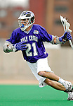 10 April 2007: Holy Cross Crusaders' Paul LeBlanc, a Senior from Lexington, MA, in action against the University of Vermont Catamounts at Moulton Winder Field, in Burlington, Vermont. The Crusaders rallied to defeat the Catamounts 5-4...Mandatory Photo Credit: Ed Wolfstein Photo