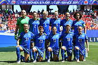 20190629 - VALENCIENNES , FRANCE : Italian players with Laura Giulani (1) ,  Valentina Bergamaschi (2) , Sara Gama (3) , Aurora Galli (4) , Elena Linari (5) ,  Alia Guagni (7) , Barbara Bonansea (11) , Elisa Bartoli 13) ,  Valentina Giacinti (19)  , Valentina Cernoia (21) and Manuela Giugliano (23) pictured posing for the teampicture during the female soccer game between Italy  - Squadra Azzurrine - and The Netherlands  – Oranje Leeuwinnen - , a knock out game in the quarter finals of the FIFA Women's  World Championship in France 2019, Saturday 29 th June 2019 at the Stade du Hainaut Stadium in Valenciennes , France .  PHOTO SPORTPIX.BE | DAVID CATRY