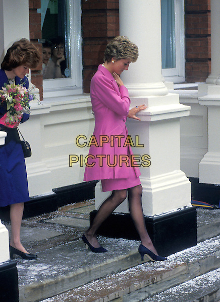 HRH, THE PRINCESS DIANA OF WALES.Visiting Great Ormond Street Hospital,.London, England, 14th February 1993..Lady Di family her royal highness full length pink jacket walking down steps.Ref: CAP/PL.©Phil Loftus/Capital Pictures