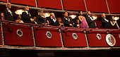 Washington, DC - December 6, 2009 -- United States President Barack Obama and first lady Michelle Obama sing the Star Spangled Banner with the 2009 Kennedy Center Honorees in the president's box at the John F. Kennedy Center for the Performing Arts in Washington, DC on Sunday, December 6, 2009 prior to the taping of the 2009 Kennedy Center Honors tribute program to be aired December 29th. Shown with the president and first lady are (l-r) Dave Brubeck, Robert DeNiro, Grace Bumbry, Mel Brooks, and Bruce Springsteen. At right are Vice President Joe Biden and granddaughter Ashley Biden..Credit: Martin H. Simon / Pool via CNP