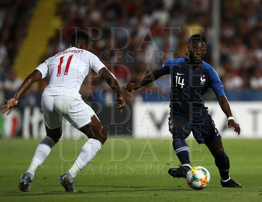 Football: Uefa under 21 Championship 2019, England - France, Dino Manuzzi stadium Cesena Italy on June18, 2019.<br /> France's Jonathan Bamba (r) in action with England's Ryan Sessegnon (l) during the Uefa under 21 Championship 2019 football match between England and France at Dino Manuzzi stadium in Cesena, Italy on June18, 2019.<br /> UPDATE IMAGES PRESS/Isabella Bonotto