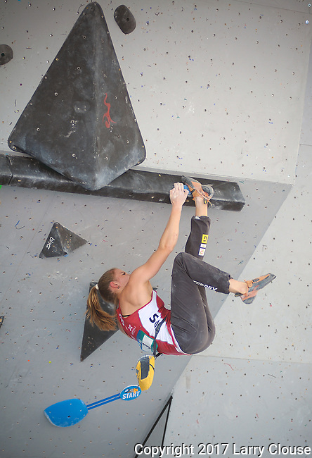 June 9, 2017 - Vail, Colorado, U.S. - Switzerland's, Petra Klinger #3, solves a perplexing climbing problem in the IFSC Climbing World Cup during the GoPro Mountain Games, Vail, Colorado.  Adventure athletes from around the world meet in Vail, Colorado, June 8-11, for America's largest celebration of mountain sports, music, and lifestyle.