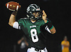 Nick Anzalone #8, Lindenhurst quarterback, throws a pass for a completion during the third quarter of a Suffolk County Division I varsity football game against Longwood at Lindenhurst Middle School on Friday, Sept. 15, 2017.