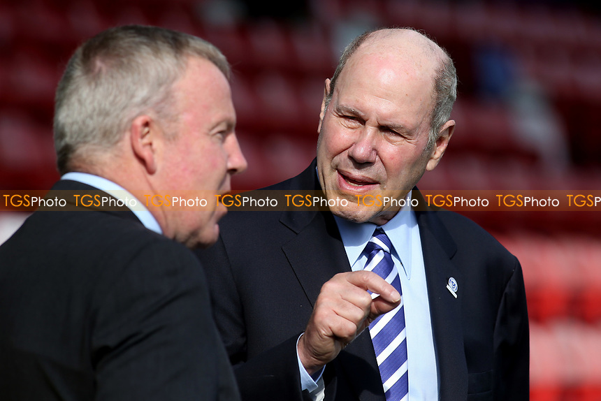 Portsmouth FC Owner, Michael Eiser chats with Portsmouth Manager, Kenny Jackett, ahead of kick-off during AFC Wimbledon vs Portsmouth, Sky Bet EFL League 1 Football at the Cherry Red Records Stadium on 13th October 2018