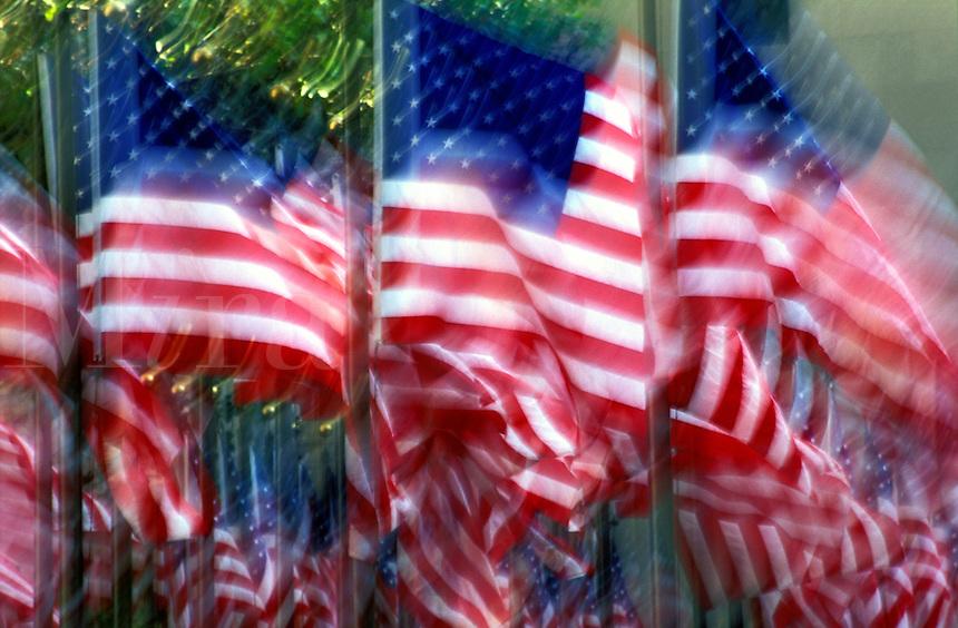 USA, New York, New York City. US flags