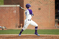 Evan Bergman (10) of the High Point Panthers follows through on his swing against the Campbell Camels at Williard Stadium on March 16, 2019 in  Winston-Salem, North Carolina. The Camels defeated the Panthers 13-8. (Brian Westerholt/Four Seam Images)
