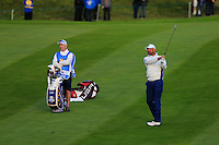 Thomas Bjorn (EUR) on the 1st during the Saturday Fourball Matches of the Ryder Cup at Gleneagles Golf Club on Saturday 27th September 2014.<br /> Picture:  Thos Caffrey / www.golffile.ie