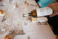 Lunch with white wine chateau la garde pessac leognan graves bordeaux france