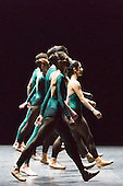 "09/03/2015. London, England. Pictured: In the Middle, Somewhat Elevated, choreography by William Forsythe.  Dress rehearsal of the triple bill ""Modern Masters"" performed by dancers from the English National Ballet at Sadler's Wells. Performances from 10 to 15 March 2015. Photo credit: Bettina Strenske"