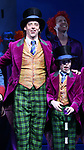 Christian Borle and Jake Ryan Flynn during the Broadway Opening Performance Curtain Call of 'Charlie and the Chocolate Factory' at the Lunt-Fontanne Theatre on April 23, 2017 in New York City.