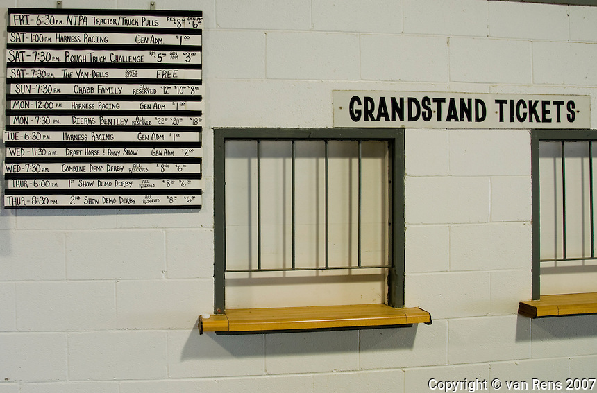 Grandstand window for tickets to the exciting events at the Fulton County Fairground, OH