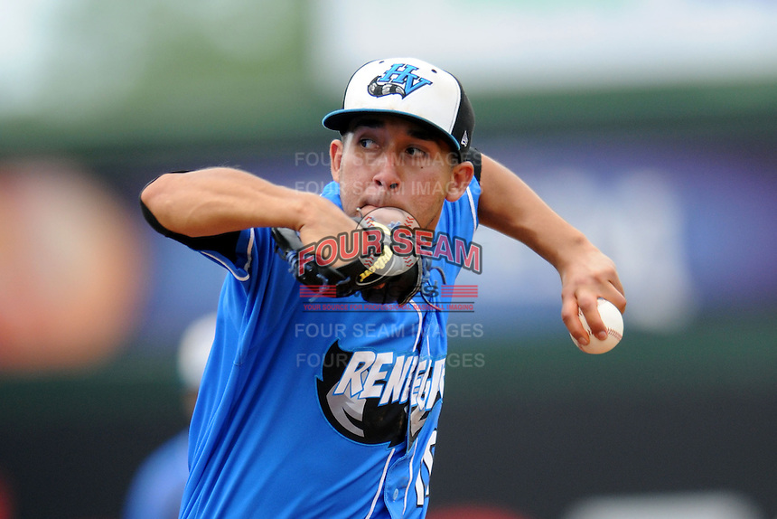 Hudson Valley Renegades pitcher Derek Loera #16 during a game versus the Lowell Spinners at LeLacheur Park in Lowell, Massachusetts on August 18, 2013.  (Ken Babbitt/Four Seam Images)