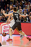 Real Madrid's Sergio Llull and Brose Bamberg's Aleksej Nikolic during Turkish Airlines Euroleague between Real Madrid and Brose Bamberg at Wizink Center in Madrid, Spain. December 20, 2016. (ALTERPHOTOS/BorjaB.Hojas)