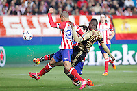 Atletico de Madrid´s Miranda and Milan´s Balotelli during 16th Champions League soccer match at Vicente Calderon stadium in Madrid, Spain. January 06, 2014. (ALTERPHOTOS/Victor Blanco)