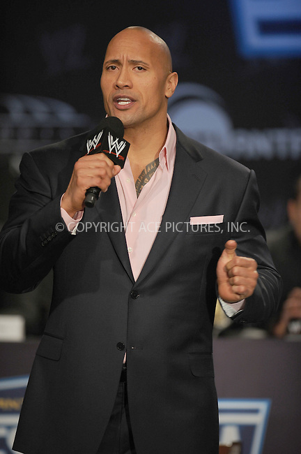 WWW.ACEPIXS.COM . . . . . .March 30, 2011...New York City...Dwanye Johnson attends the WWE  Wreslemania XXVII Press Conference at the Hard Rock Cafe on  March 30, 2011 in New York City....Please byline: KRISTIN CALLAHAN - ACEPIXS.COM.. . . . . . ..Ace Pictures, Inc: ..tel: (212) 243 8787 or (646) 769 0430..e-mail: info@acepixs.com..web: http://www.acepixs.com .
