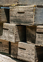 Grape crates are stacked on a wagon at Gundlach Bundschu Winery, Sonoma County, California