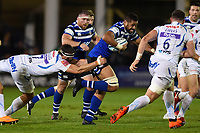 Taulupe Faletau of Bath Rugby takes on the Exeter Chiefs defence. Gallagher Premiership match, between Bath Rugby and Exeter Chiefs on October 5, 2018 at the Recreation Ground in Bath, England. Photo by: Patrick Khachfe / Onside Images