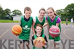 Cian Godley, Darragh Broderick, Rachel Godley and Leah O'Neill at the Team Kerry Basketball Camp on Tuesday..
