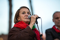 """Tina Costa (Antifascist Partizan. Member of the Partigiani: the Italian Resistance during WWII).<br /> <br /> Rome, 01/12/2018. Today, """"Sei 1 Di Noi"""" (You are one of us), supported by other organizations, held a peaceful demonstration from Piazza della Repubblica (Republic's Square) to Via dei Fori Imperiali. The demonstration was called in support of Solidarity and Social Justice, against all the mafias organizations, inequalities, racism, against the policies of the Government (League – Five Star Movement), especially the so-called """"Decreto Salvini"""" (Decree Salvini), made by the Interior Minister Matteo Salvini (League – Lega, https://bit.ly/2DxlqQk) accused by protesters & activists to be racist and restrictive of civil liberties. Moreover, the demo was also called to show support and solidarity with migrants, refugees, minorities, and to make heard the voices of the people who have paid the crisis with the rise of exploitation, discriminations, unemployment, evictions linked to the endless Rome's 'housing crisis'.<br /> <br /> For more information please click here: https://sei1dinoi.org/ & https://bit.ly/2E7Shtl"""