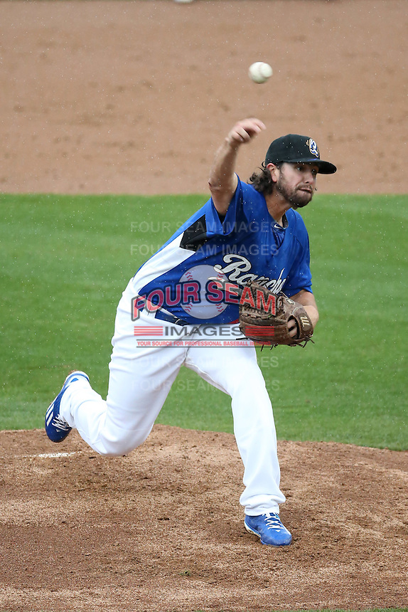 Joe Broussard (21) of the Rancho Cucamonga Quakes pitches against the Lake Elsinore Storm at LoanMart Field on April 10, 2016 in Rancho Cucamonga, California. Lake Elsinore defeated Rancho Cucamonga, 7-6. (Larry Goren/Four Seam Images)