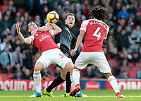 Burnley's Sam Vokes battles with Arsenal's Granit Xhaka<br /> <br /> Photographer David Shipman/CameraSport<br /> <br /> The Premier League - Arsenal v Burnley - Saturday 22nd December 2018 - The Emirates - London<br /> <br /> World Copyright © 2018 CameraSport. All rights reserved. 43 Linden Ave. Countesthorpe. Leicester. England. LE8 5PG - Tel: +44 (0) 116 277 4147 - admin@camerasport.com - www.camerasport.com