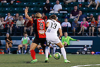Rochester, NY - Saturday July 23, 2016: FC Kansas City defender Brittany Taylor (13), Western New York Flash forward Lynn Williams (9) during a regular season National Women's Soccer League (NWSL) match between the Western New York Flash and FC Kansas City at Rochester Rhinos Stadium.
