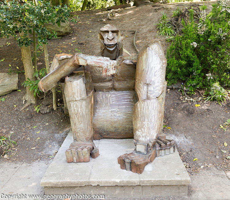 King Kong gorilla metal sculpture in Queen's Park, central Swindon, Wiltshire, England, UK
