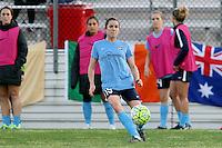 Piscataway, NJ, Saturday May 7, 2016. Sky Blue FC defender Kelley O'Hara (19) passes the ball. The Western New York Flash defeated Sky Blue FC, 2-1, in a National Women's Soccer League (NWSL) match at Yurcak Field.