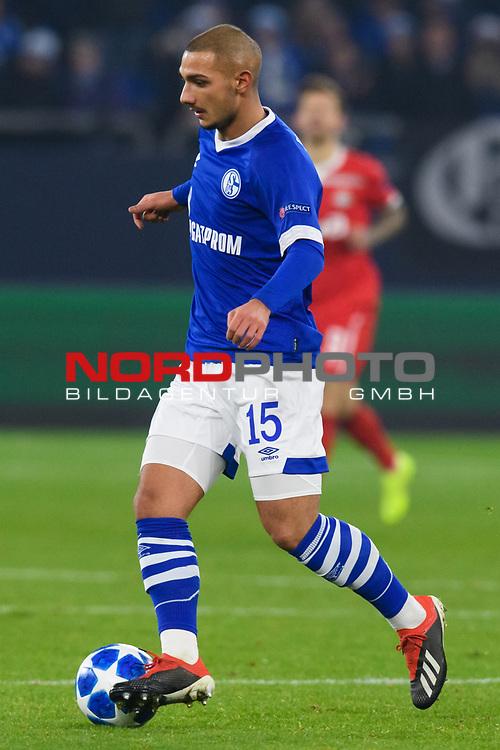 11.12.2018, VELTINS Arena, Gelsenkirchen, Deutschland, GER, UEFA Champions League, Gruppenphase, Gruppe D, FC Schalke 04 vs. FC Lokomotiv Moskva / Moskau<br /> <br /> DFL REGULATIONS PROHIBIT ANY USE OF PHOTOGRAPHS AS IMAGE SEQUENCES AND/OR QUASI-VIDEO.<br /> <br /> im Bild Ahmed Kutucu (#15 Schalke)<br /> <br /> Foto © nordphoto / Kurth