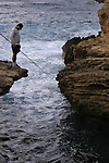 Israel, Galilee Coastal Plain, fishing in Rosh Hanikra