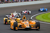 May 28th Indianapolis Speedway, Indiana, USA;  Ed Jones, driver of the #19 Dale Coyne Racing Honda, leads the race during the running of the 101st Indianapolis 500 on May 28th, 2017 at the Indianapolis Motor Speedway in Indianapolis, IN.