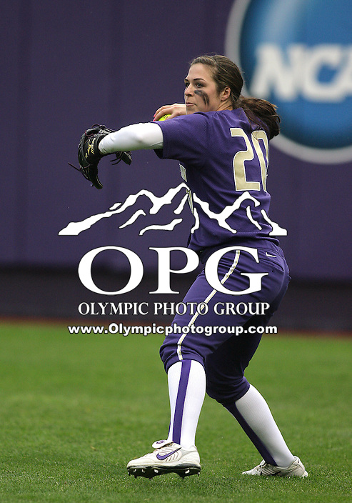 28 May 2010:  Washington Huskies right fielder Baily Stenson fires the ball to second base against Oklahoma.  Washington defeated Oklahoma 3-0 in the second game of the NCAA Super Regional at Husky Softball Stadium in Seattle, WA.