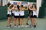 The Wake Forest Demon Deacons high five each other prior to the start of their match against the Liberty Flames at the Wake Forest Indoor Tennis Center on March 11, 2017 in Winston-Salem, North Carolina. The Demon Deacons defeated the Flames 6-1.  (Brian Westerholt/Sports On Film)