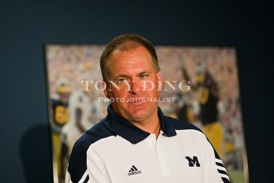 Michigan head coach Rich Rodriguez speaks at a press conference during the annual NCAA college football media day, Sunday, Aug. 22, 2010, in Ann Arbor, Mich. (AP Photo/Tony Ding)
