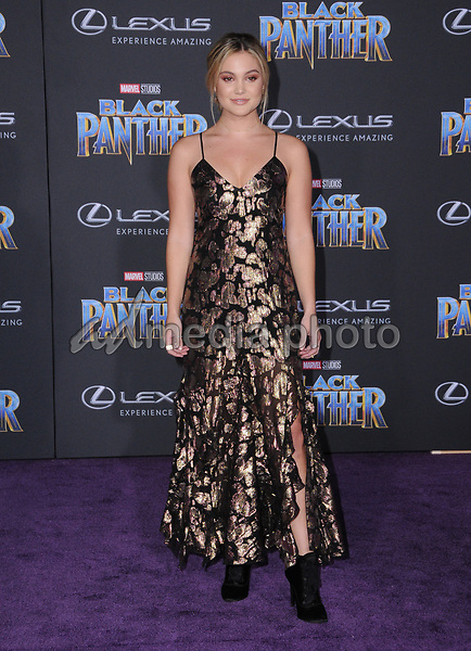 """29 January 2018 - Hollywood, California - Olivia Holt. Marvel Studios' """"Black Panther"""" World Premiere held at Dolby Theater. Photo Credit: Birdie Thompson/AdMedia"""