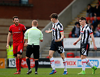 Leyton Orient's Tom Parkes and Grimsby Town's Calum Dyson clash during the Sky Bet League 2 match between Leyton Orient and Grimsby Town at the Matchroom Stadium, London, England on 11 March 2017. Photo by Carlton Myrie / PRiME Media Images.