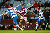 Aston Villa's Jack Grealish breaks under pressure from Queens Park Rangers' Massimo Luongo and Josh Scowen<br /> <br /> Photographer Andrew Kearns/CameraSport<br /> <br /> The EFL Sky Bet Championship -  Aston Villa v Queens Park Rangers - Tuesday 13th March 2018 - Villa Park - Birmingham<br /> <br /> World Copyright &copy; 2018 CameraSport. All rights reserved. 43 Linden Ave. Countesthorpe. Leicester. England. LE8 5PG - Tel: +44 (0) 116 277 4147 - admin@camerasport.com - www.camerasport.com