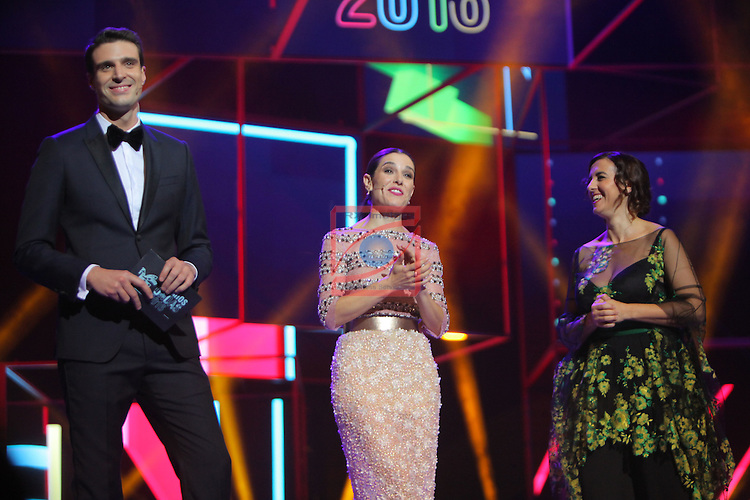 63 Premios Ondas.<br /> Gala de Entrega de los premios.<br /> Uri Sabat, Raquel Sanchez Silva &amp; Llum Barrera.