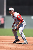 Lowell Spinners first baseman Sam Travis (40) during a game against the Batavia Muckdogs on July 17, 2014 at Dwyer Stadium in Batavia, New York.  Batavia defeated Lowell 4-3.  (Mike Janes/Four Seam Images)