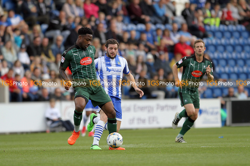 Yann Songo'o of Plymouth Argyle with the ball during Colchester United vs Plymouth Argyle, Sky Bet EFL League 2 Football at the Weston Homes Community Stadium on 22nd April 2017