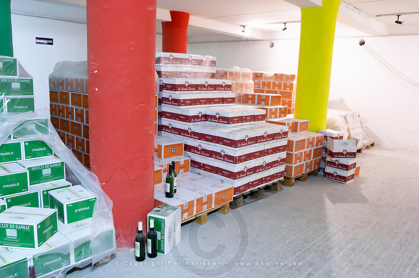 Domaine du Mas de Daumas Gassac. in Aniane. Languedoc. wines in carton box boxes cases ready for shipping. France. Europe.