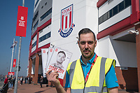 Program seller at the Britannia Stadium, home of Stoke City<br /> <br /> Photographer Terry Donnelly/CameraSport<br /> <br /> The Premier League - Stoke City v Liverpool - Saturday 8th April 2017 - bet365 Stadium - Stoke-on-Trent<br /> <br /> World Copyright &copy; 2017 CameraSport. All rights reserved. 43 Linden Ave. Countesthorpe. Leicester. England. LE8 5PG - Tel: +44 (0) 116 277 4147 - admin@camerasport.com - www.camerasport.com