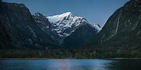 Last light on Mount Pembroke in Milford Sound, Fiordland National Park, Southland, UNESCO World Heritage Area, South Island, New Zealand, NZ