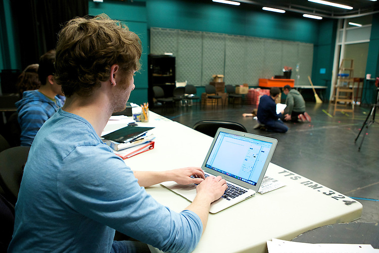 Jared Hecht, playwright and actor, watches rehearsal of his play, VIDEO GALAXY, Tuesday, April 28, 2015, in The Theatre School building on DePaul's Lincoln Park campus. VIDEO GALAXY was selected for full production in the New Playwrights Series, and will run on The Theatre School's Fullerton Stage May 22-30, 2015. (DePaul University/Jeff Carrion)