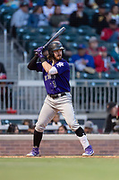 Albuquerque Isotopes second baseman Brendan Rodgers (1) batting during a game against the El Paso Chihuahuas at Southwest University Park on May 10, 2019 in El Paso, Texas. Albuquerque defeated El Paso 2-1. (Zachary Lucy/Four Seam Images)
