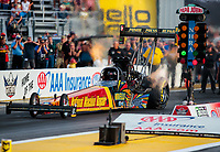 Sep 21, 2018; Madison, IL, USA; NHRA top fuel driver Luigi Novelli during qualifying for the Midwest Nationals at Gateway Motorsports Park. Mandatory Credit: Mark J. Rebilas-USA TODAY Sports