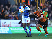 Blackburn Rovers' Ryan Nyambe is tackled by Wolverhampton Wanderers' Ben Marshall<br /> <br /> Photographer Rachel Holborn/CameraSport<br /> <br /> The EFL Sky Bet Championship - Wolverhampton Wanderers v Blackburn Rovers - Saturday 22nd April 2017 - Molineux - Wolverhampton<br /> <br /> World Copyright &copy; 2017 CameraSport. All rights reserved. 43 Linden Ave. Countesthorpe. Leicester. England. LE8 5PG - Tel: +44 (0) 116 277 4147 - admin@camerasport.com - www.camerasport.com
