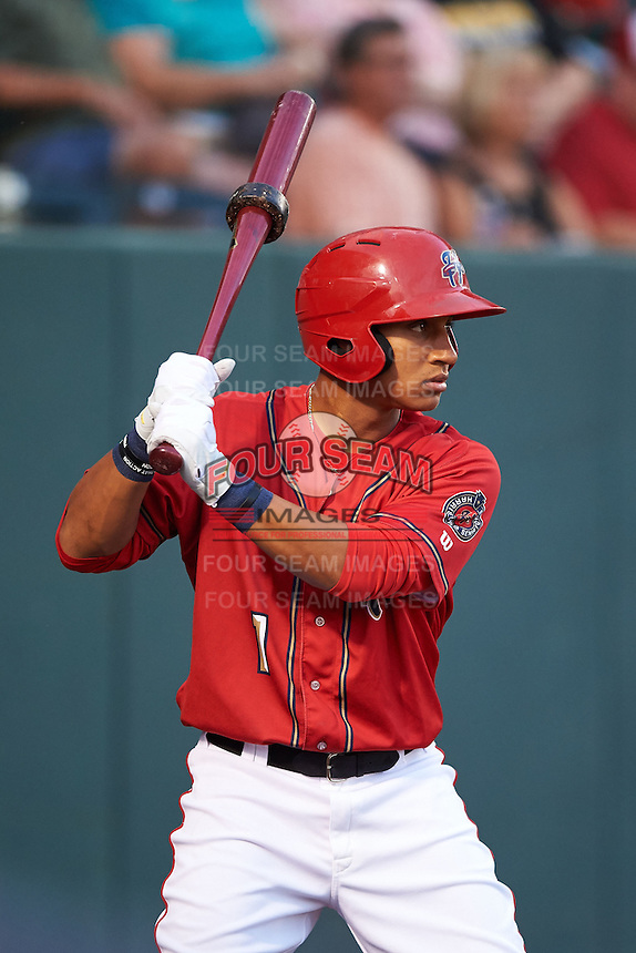 Harrisburg Senators designated hitter Christopher Bostick (1) waits on deck during a game against the New Hampshire Fisher Cats on July 21, 2015 at Metro Bank Park in Harrisburg, Pennsylvania.  New Hampshire defeated Harrisburg 7-1.  (Mike Janes/Four Seam Images)