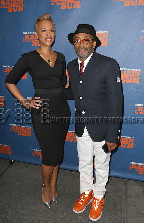 Tonya Lee and Spike Lee attending the Broadway Opening Night Performance of 'A Raisin In The Sun'  at the Barrymore Theatre on April 3, 2014 in New York City.